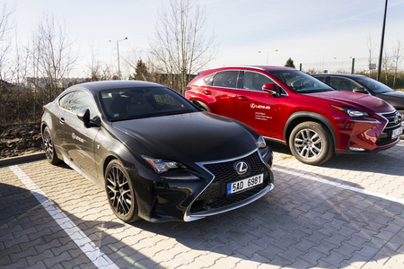 PRAGUE, CZECH REPUBLIC - FEBRUARY 25: Lexus cars in front of dealership building on February 25, 2017 in Prague, Czech republic. Lexus voted most reliable car making it the 6th consecutive victory in the U.S. dependability study. Editorial