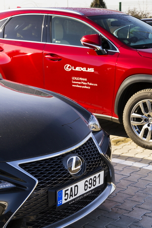 consecutive: PRAGUE, CZECH REPUBLIC - FEBRUARY 25: Lexus cars in front of dealership building on February 25, 2017 in Prague, Czech republic. Lexus voted most reliable car making it the 6th consecutive victory in the U.S. dependability study. Editorial