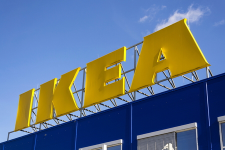 PRAGUE, CZECH REPUBLIC - FEBRUARY 25: IKEA furniture company logo on building exterior on February 25, 2017 in Prague, Czech republic.