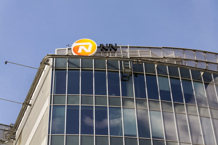 PRAGUE, CZECH REPUBLIC - MARCH 3: Nationale-Nederlanden from NN Group insurance company logo on building of the Czech headquarters on March 3, 2017 in Prague, Czech republic. NN Group reached an agreement to acquire competitor Delta Lloyd Group for 2.5 bi