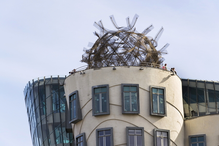 PRAGUE, CZECH REPUBLIC - MARCH 3: The Dancing House, nicknamed Fred and Ginger, completed in 1996 for Nationale-Nederlanden by Vlado Milunic and Frank Gehry on March 3, 2017 in Prague, Czech republic. Editorial