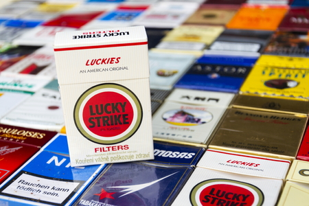 PRAGUE, CZECH REPUBLIC - MARCH 25: Lucky Strike pack on many different cigarettes photographed on March 25, 2017 in Prague, Czech republic.