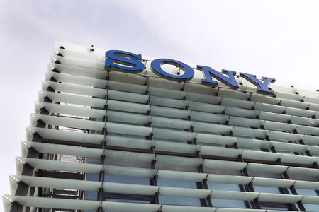 logo music: PRAGUE, CZECH REPUBLIC - MAY 22: Sony company logo on headquarters building on May 17, 2017 in Prague, Czech republic. Sony chief executive outlines long-term profit strategy after closing in on its highest profit in two decades. Editorial