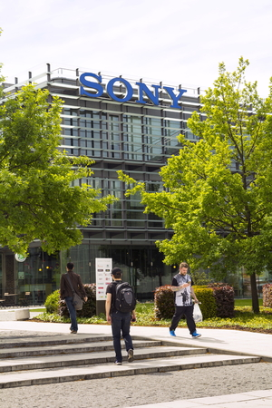 decades: PRAGUE, CZECH REPUBLIC - MAY 22: Sony company logo on headquarters building on May 17, 2017 in Prague, Czech republic. Sony chief executive outlines long-term profit strategy after closing in on its highest profit in two decades. Editorial
