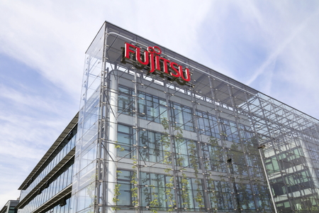 PRAGUE, CZECH REPUBLIC - MAY 22: Fujitsu company logo on headquarters building on May 22, 2017 in Prague, Czech republic. Fujitsu edge closer to deal with largest PC manufacturer Lenovo.