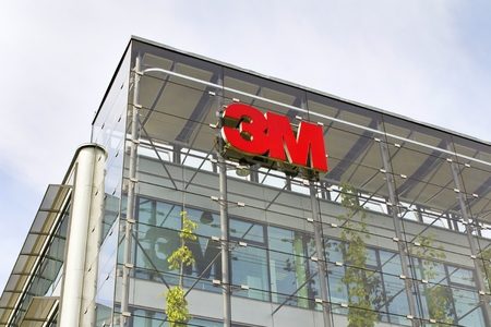 PRAGUE, CZECH REPUBLIC - MAY 22: 3M company logo on headquarters building on May 22, 2017 in Prague, Czech republic. 3M CEO Thulin will no longer be required to retire at 65.