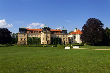 Baroque Castle Lany, summer residence of President of Czech Republic Stock Photo