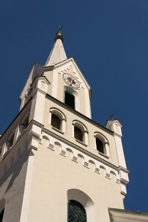 White Evangelic Church in Schladming city center, Austria Stock Photo