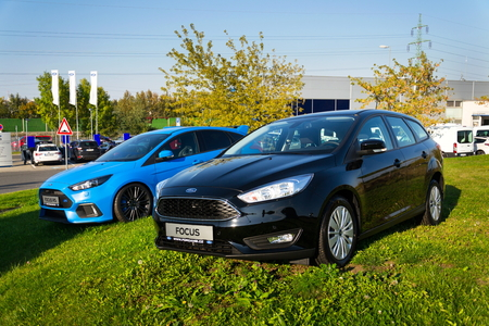 PRAGUE, CZECH REPUBLIC - SEPTEMBER 29: Cars in front of Ford motor company dealership building on September 29, 2017 in Prague. Ford and Lyft will work together to deploy autonomous cars. Editorial