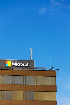 PRAGUE, CZECH REPUBLIC - OCTOBER 14: Microsoft company logo on headquarters building on October 14, 2017 in Prague, Czech republic. Microsoft is working on a big redesign for its Outlook for Mac and Windows apps.