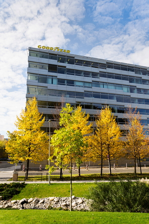 PRAGUE, CZECH REPUBLIC - OCTOBER 14: The Goodyear Tire and Rubber Company logo on headquarters  building on October 14, 2017 in Prague, Czech republic. Goodyear introduces the first commercially available tires made with a soybean oil-based rubber compoun Editorial