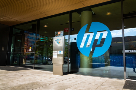PRAGUE, CZECH REPUBLIC - OCTOBER 14: The Hewlett-Packard company logo on headquarters building on October 14, 2017 in Prague, Czech republic. HP unveils worlds most powerful and first detachable PC workstation. 報道画像