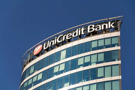 PRAGUE, CZECH REPUBLIC - OCTOBER 14: UniCredit Group banking company logo on branch building on October 14, 2017 in Prague, Czech republic. Italys largest bank is scouting for potential partners in Europe.