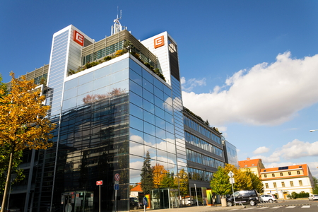 PRAGUE, CZECH REPUBLIC - OCTOBER 14: CEZ group company logo on headquarters building on October 14, 2017 in Prague, Czech republic. 報道画像