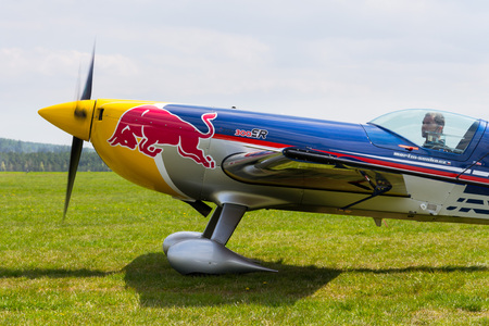 PLASY, CZECH REPUBLIC - APRIL 30: Red Bull Air Race pilot Martin Sonka in his aerobatic plane  on April 30, 2017 in Plasy. Czech pilot Martin Å onka ended the Red Bull Air Race World Championship season in second place.