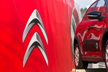 PRAGUE, CZECH REPUBLIC - NOVEMBER 5: Citroen car company company logo in front of dealership building on November 5, 2017 in Prague. Citroen prepares EV push with 80 per cent electrified range by 2023. Editorial