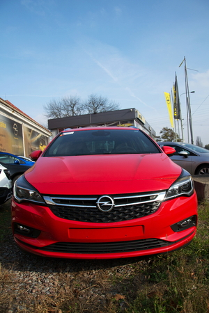 PRAGUE, CZECH REPUBLIC - NOVEMBER 5: Opel cars in front of dealership building on November 5, 2017 in Prague. PSA Group plans to cut the number of models and rein in discounts at its Opel division.