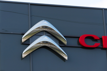 PRAGUE, CZECH REPUBLIC - NOVEMBER 5: Citroen car company company logo in front of dealership building on November 5, 2017 in Prague. Citroen prepares EV push with 80 per cent electrified range by 2023. Editorial
