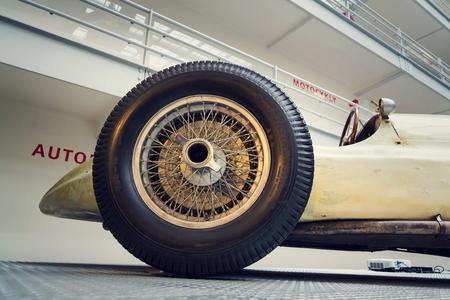 PRAGUE, CZECH REPUBLIC - NOVEMBER 10: Filtered photo of Mercedes-Benz W154 Grand Prix racing car designed by Rudolf Uhlenhaut in National technical museum on November 10, 2017 in Prague, Czech republic. Editorial
