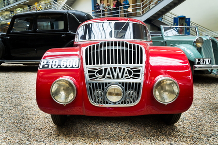 PRAGUE, CZECH REPUBLIC - NOVEMBER 10: Jawa 750 racing car from 1935 stands in National technical museum on November 10, 2017 in Prague, Czech republic. The car was created to participate in the Czechoslovak 1,000 miles race and was supported by only a woo