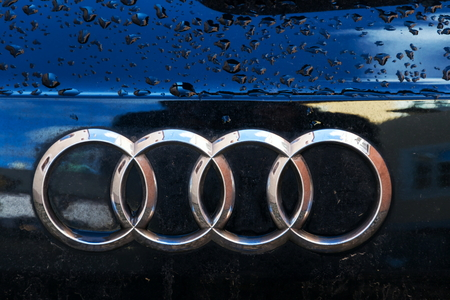 TABOR, CZECH REPUBLIC - NOVEMBER 19: Audi company logo on wet car on November 19, 2017 in Tabor, Czech Republic. Audi Starts Training Its Employees On Big Data And A.I. Editorial
