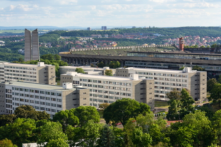 The Great Strahov Stadium from Petrin tower, Prague, Czech Republic Stock Photo