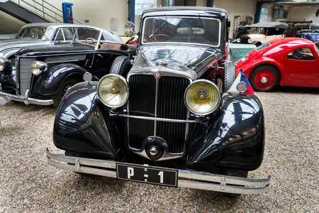 PRAGUE, CZECH REPUBLIC - NOVEMBER 10: Car Tatra 80 from year 1935 stands in National technical museum on November 10, 2017 in Prague, Czech Republic. The car was used by first Czechoslovakian president Tomas Garrigue Masaryk and is National Cultural Monum