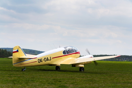 PLASY, CZECH REPUBLIC - APRIL 30: Aero 45 version of Aero 145 twin-piston engined civil utility aircraft on airport on April 30, 2017 in Plasy, Czech Republic.