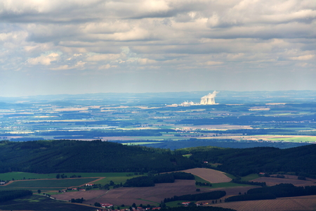 Cooling towers with steam vapour at nuclear power station