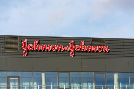 PRAGUE, CZECH REPUBLIC - JANUARY 6: Johnson & Johnson company logo on headquarters building on January 6, 2018 in Prague, Czech Republic.