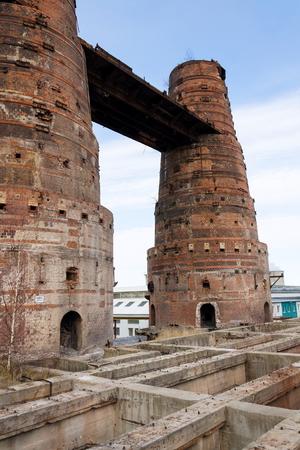 Fornos de cal em Kladno, República Checa, monumento cultural nacional Foto de archivo