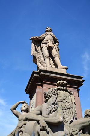 Karl Theodor statue on Old Bridge over Neckar, Heidelberg, Germany