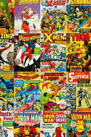 PRAGUE, CZECH REPUBLIC - JANUARY 29: Colorful vintage comic magazine covers top view flat lay composition on January 29, 2018 in Prague, Czech Republic. Editorial