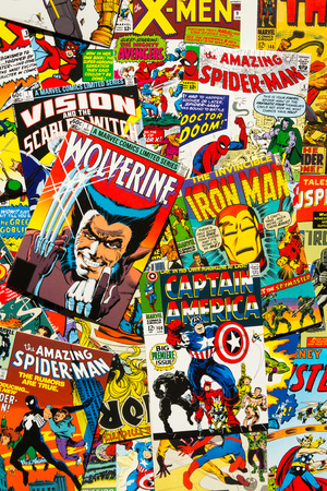PRAGUE, CZECH REPUBLIC - JANUARY 29: Colorful vintage comic magazine covers top view flat lay composition on January 29, 2018 in Prague, Czech Republic. Éditoriale