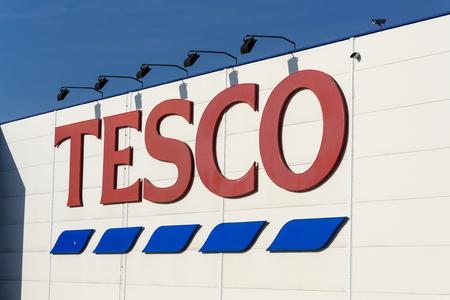 TABOR, CZECH REPUBLIC - FEBRUARY 6 2018: Tesco company logo on the supermarket building on February 6, 2018 in Tabor, Czech Republic.