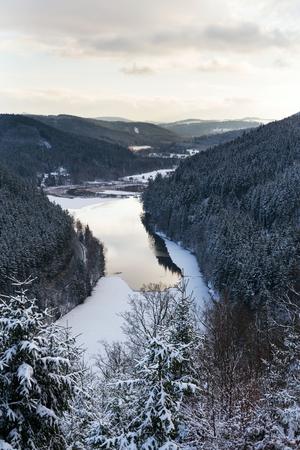 Brezova dam near Karlovy Vary, Czech Republic, winter aerial view