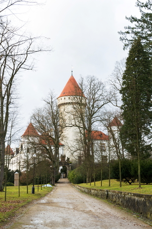 Konopiste castle exterior outside city Benesov, Bohemia, Czech Republic,