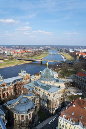 Dresden aerial view, river Elbe and Academy of fine arts Editorial