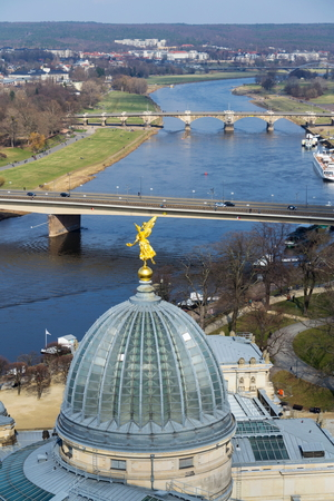 Dresden aerial view, river Elbe and Academy of fine arts Stock Photo