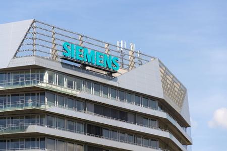 PRAGUE, CZECH REPUBLIC - APRIL 27 2018: Siemens company logo on Czech headquarters building on April 27, 2018 in Prague, Czech Republic. Editorial