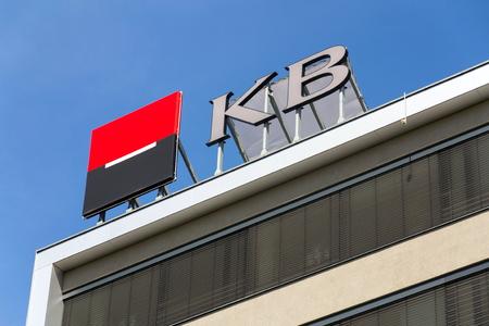 PRAGUE, CZECH REPUBLIC - APRIL 27 2018: Societe Generale banking and financial company member KB Komercni banka logo on Czech headquarters building on April 27, 2018 in Prague, Czech Republic. Editöryel