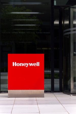 PRAGUE, CZECH REPUBLIC - MAY 10 2018: Honeywell company logo on headquarters building on May 10, 2018 in Prague, Czech Republic.