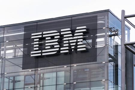 PRAGUE, CZECH REPUBLIC - MAY 10 2018: IBM company logo on headquarters building on May 10, 2018 in Prague, Czech Republic. Editorial