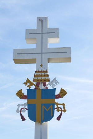 Papal coat of arms on cross, Velehrad Monastery, Czech Republic
