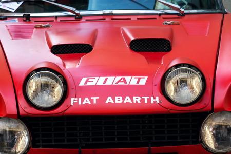 SAALBACH-HINTERGLEMM, AUSTRIA - JUNE 21 2018: Vintage Italian racing car Fiat Abarth 124 Sport Rally of the seventies oldsmobile veteran preparing for Saalbach Classic rally on June 21, 2018 in Saalbach-Hinterglemm, Austria.