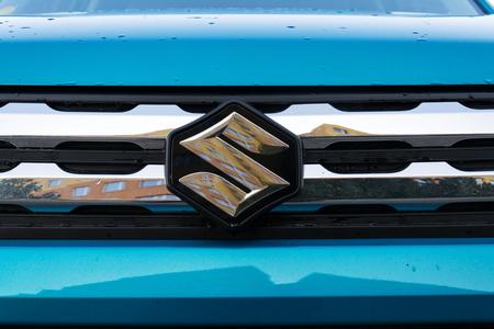 PRAGUE, CZECH REPUBLIC - MARCH 25 2018: Suzuki Motor corporation logo on blue car on March 25, 2018 in Prague, Czech Republic. Editorial