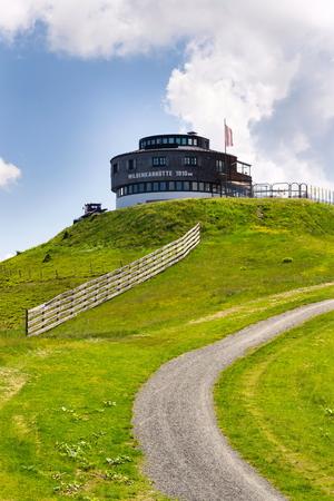 Hut on Wildenkarkogel Mountain in Alps, Saalbach-Hinterglemm, Austria Editöryel