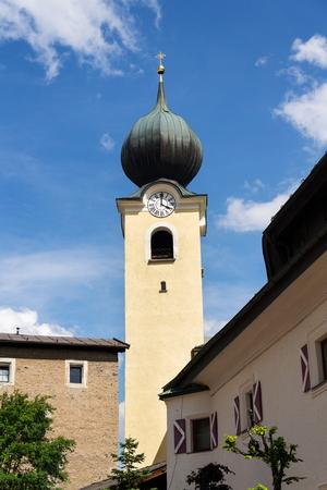 Parish Church of Saint Nicholas and Bartholomew in Saalbach, Austria Stok Fotoğraf