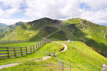 Bikers trail to Schattberg-Ost mountain station, Saalbach-Hinterglemm, Alps, Austria