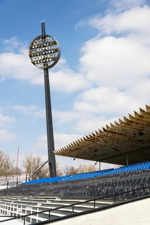 Round lighting panels at football sport stadium Hradec Kralove, Czech Republic